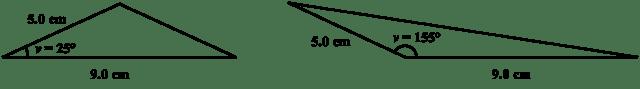 Två sidor oförändrade kan ge samma area på en triangel