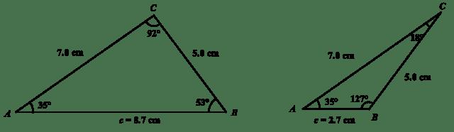 Sid- och sinusförhållanden samma trots trianglar med olika mått