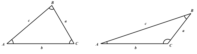 Triangelsatserna gäller såväl för trianglar med enbart spetsiga vinklar som för dem med en trubbig vinkel