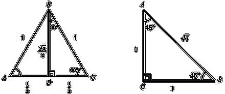 Trianglar för härledning av grundläggande trigonometriska värden