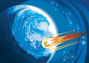 En komet dras till andra himlakroppar av samma orsak som äpplet faller till marken